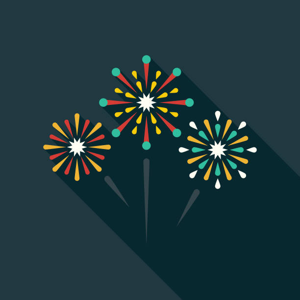 fireworks flat design party icon with side shadow - fireworks stock illustrations