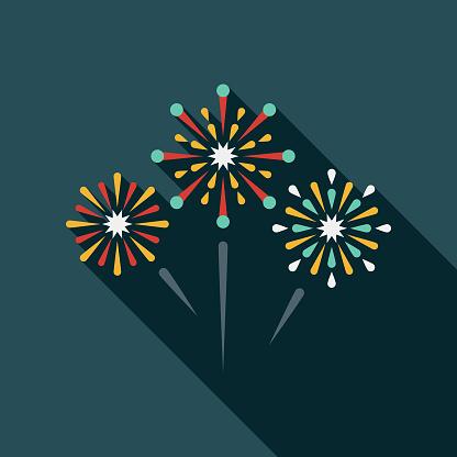 Fireworks Flat Design Prom Icon