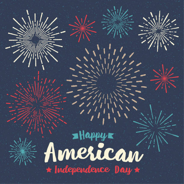 fajerwerki czwarta lipca kartka z życzeniami - fireworks stock illustrations
