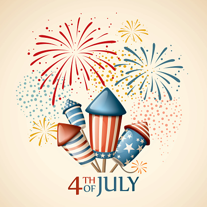 Fireworks Fourth Of July Stock Illustration - Download Image Now