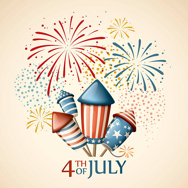 Fireworks - fourth of july - 2 or more color gradient used(linear/radial) independence day illustrations stock illustrations