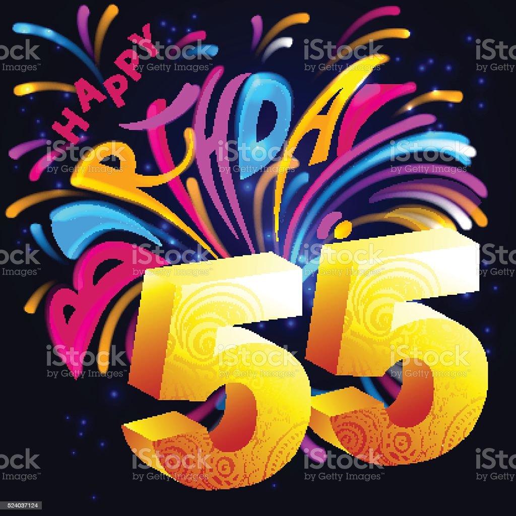 Fuochi Dartificio Buon Compleanno In Oro Con Un Numero 55 Immagini