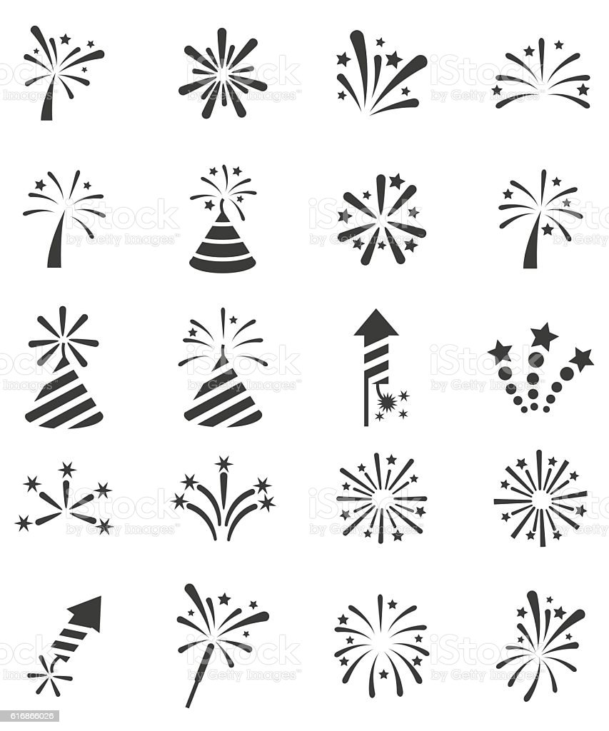 Fireworks icon set vector art illustration