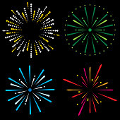 Vector illustration of a set of four multi-colored fireworks explosion icons in flat style.