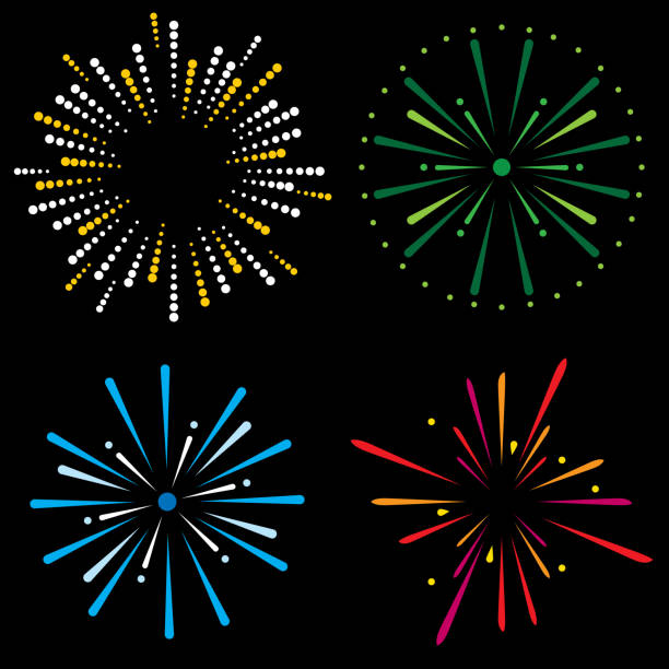 Fireworks Icon Set Vector illustration of a set of four multi-colored fireworks explosion icons in flat style. fireworks stock illustrations