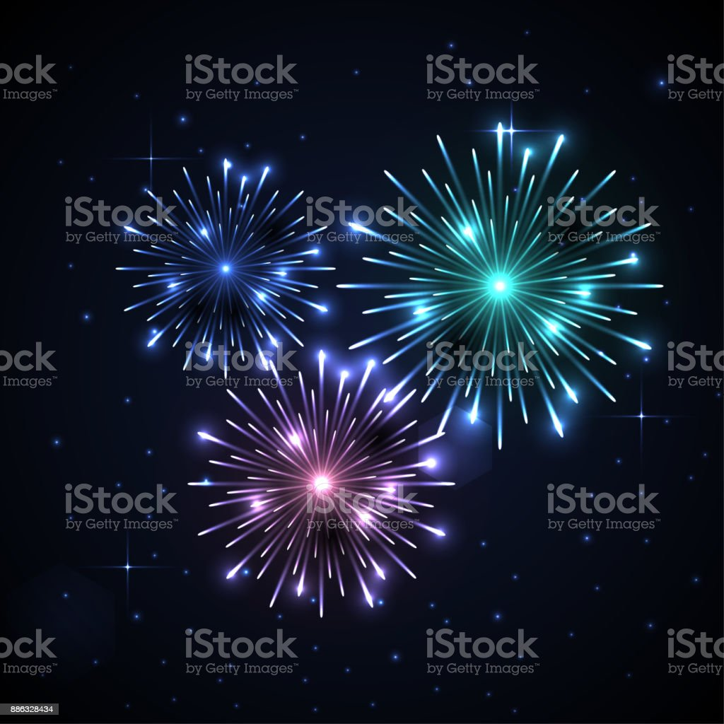Fireworks illustration. Happy New Year 2018 concept. Christmas fireworks explosion for Your business project. Vector Illustration vector art illustration