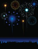 Fireworks in the City Illustration.