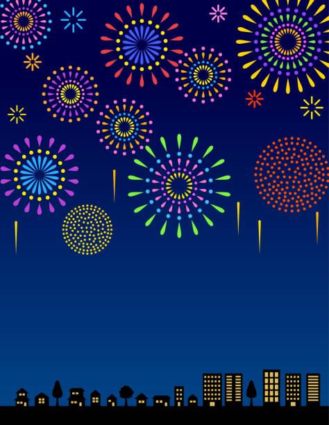 Fireworks in the night sky vector art illustration