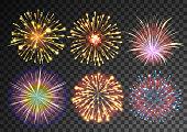 Fireworks isolated against black transparent background. Festive patterned salute burst. Vector illustration