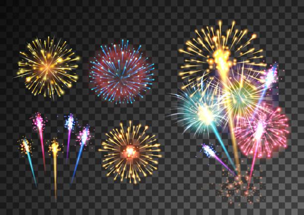 Fireworks isolated on dark transparent background Fireworks isolated on dark transparent background. Festive firecracker salute burst. Pyrotechnic rocket fire. Vector illustration pyrotechnic effects stock illustrations