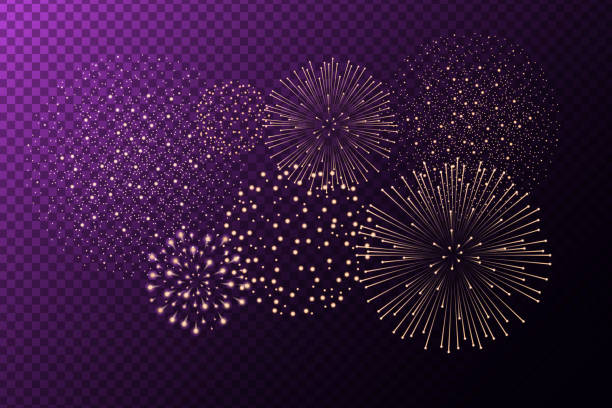 Fireworks isolated on purple transparent background. Independence day concept. Festive and holidays background. Vector illustration vector art illustration