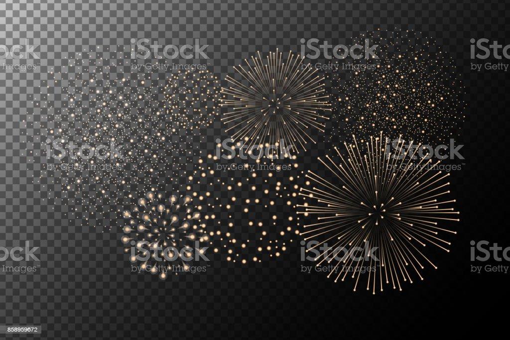 透明背景上孤立的煙花。獨立日的概念。節日和假日的背景。向量圖 - 免版稅事件圖庫向量圖形