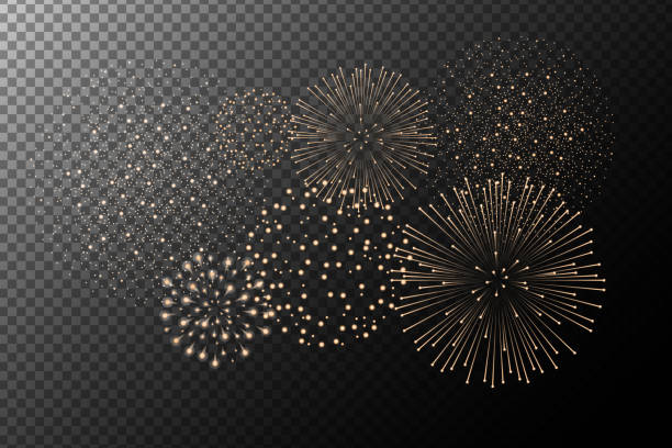 Fireworks isolated on transparent background. Independence day concept. Festive and holidays background. Vector illustration Fireworks isolated on transparent background. Independence day concept. Festive and holidays background. Vector illustration sparkler stock illustrations