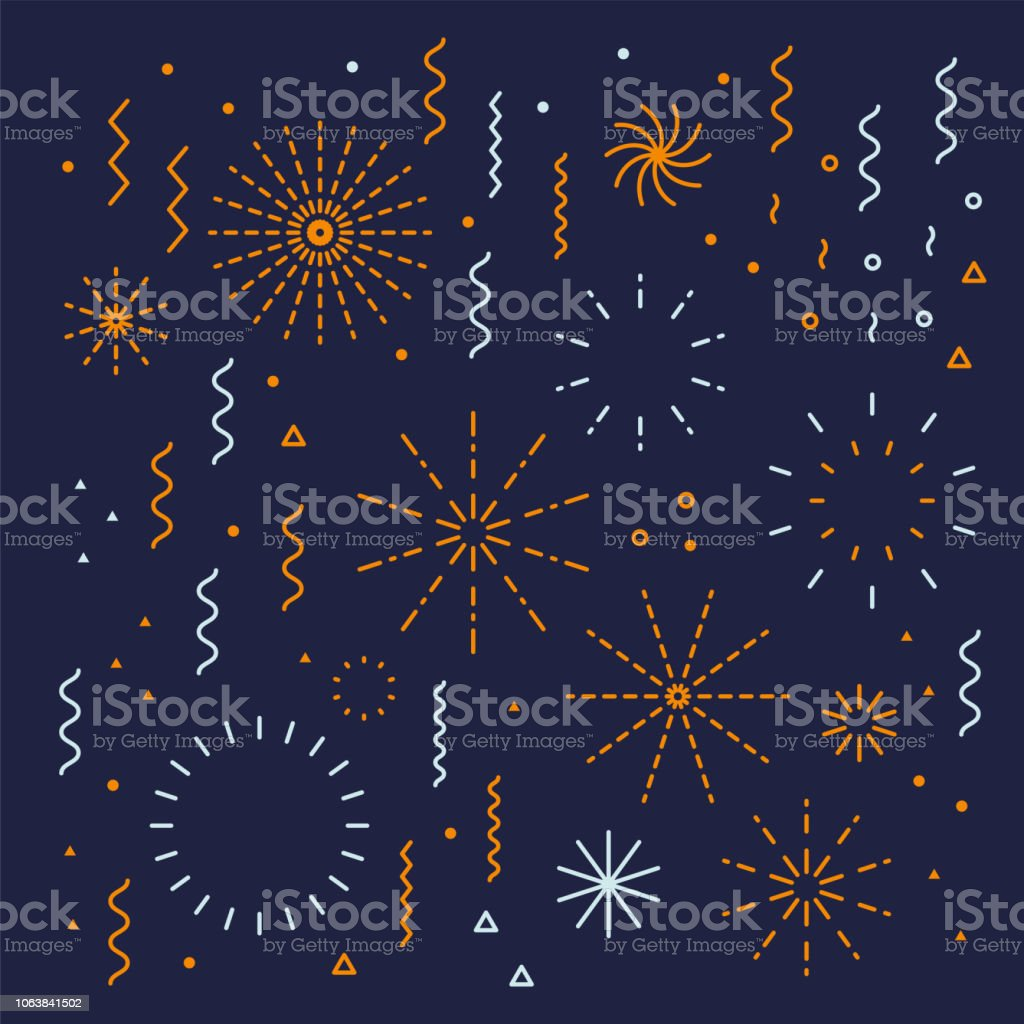 지뢰, 불꽃놀이 직계 쉽게 편집 가능한 세트 별 - 로열티 프리 개체 그룹 벡터 아트