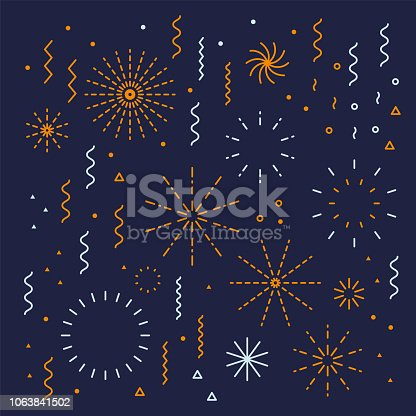 Fireworks lineal easy editable set with petard, stars. Festival vector holiday design shapes colorful collection