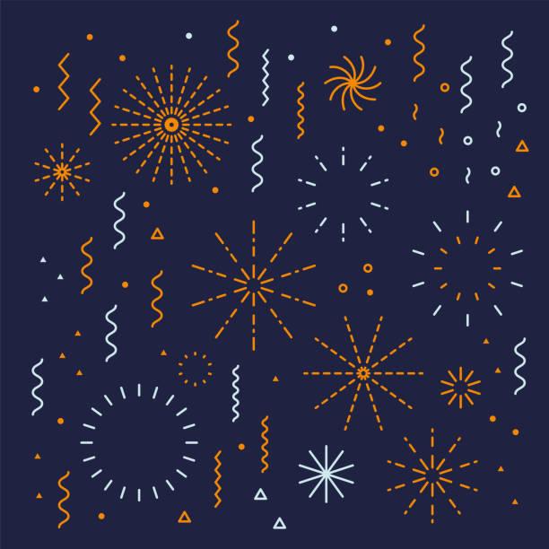 ilustraciones, imágenes clip art, dibujos animados e iconos de stock de fuegos artificiales conjunto lineal fácil editable con petard, estrellas - año nuevo