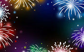 Fireworks on black background with copy space vector illustration