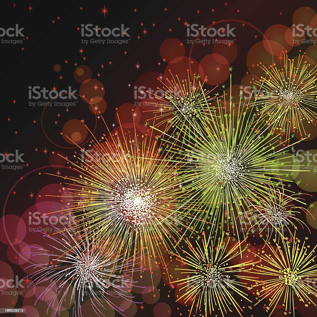 Fireworks on black sky royalty-free stock vector art