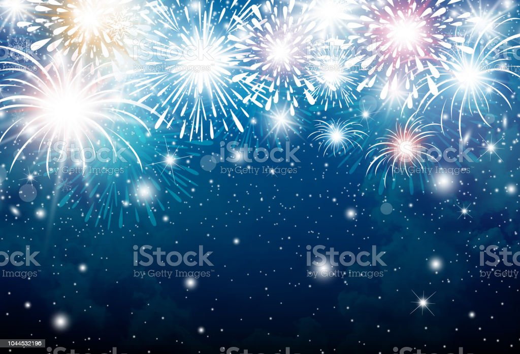 fireworks on blue sky background for christmas and new year and other celebration royalty free