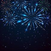 Dark blue starry sky and shiny fireworks, illustration.