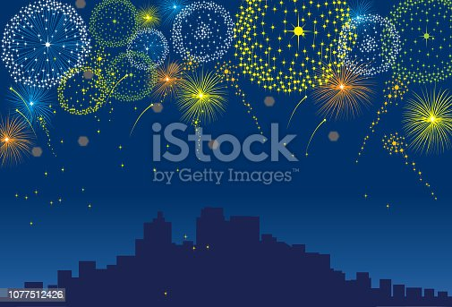 Fireworks celebrating an event such as New Years or other important calendar events.A city profile is in the background. Art is on layered groups for easy editing.