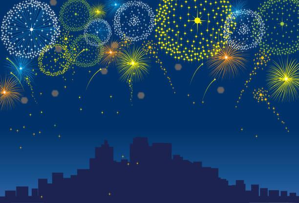ilustrações, clipart, desenhos animados e ícones de fogos de artifício sobre uma cidade à noite com o fundo escuro do céu - fireworks sky