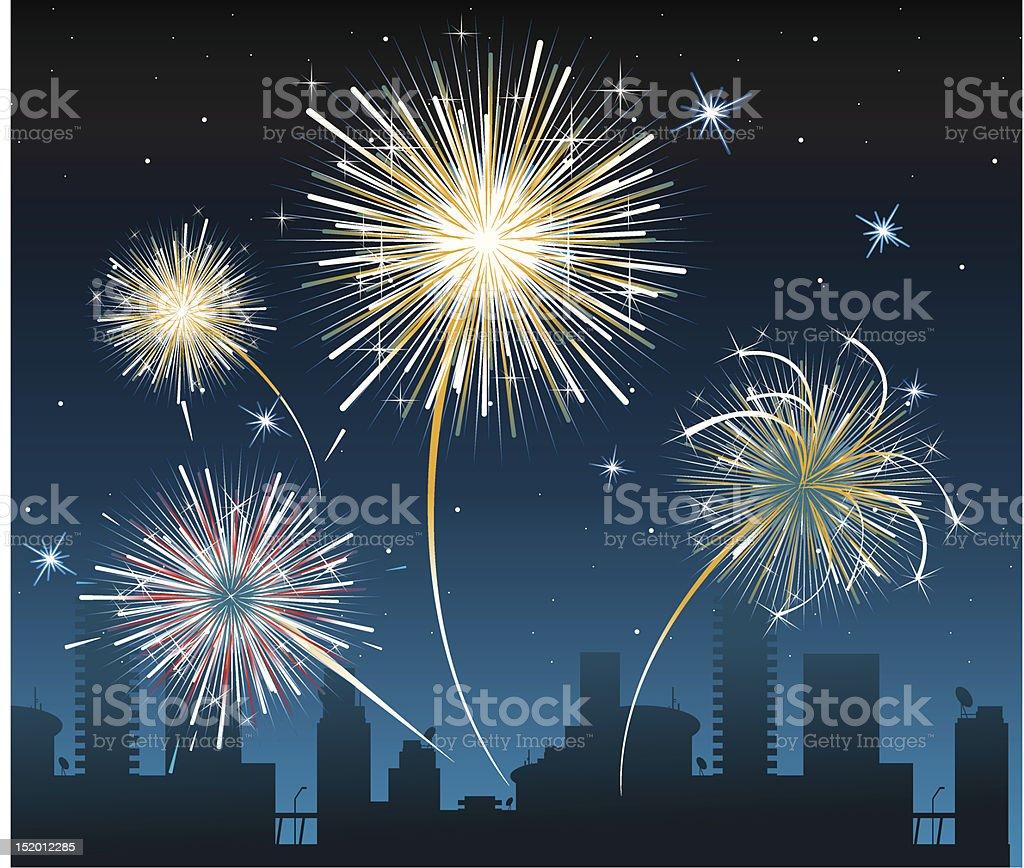 Feuerwerk über der Stadt – Vektorgrafik