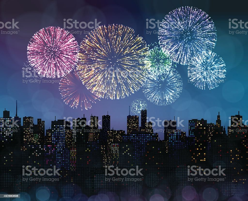 Fireworks Over the City - Royalty-free 2015 stock vector