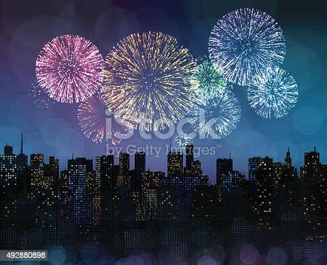 istock Fireworks Over the City 492880898