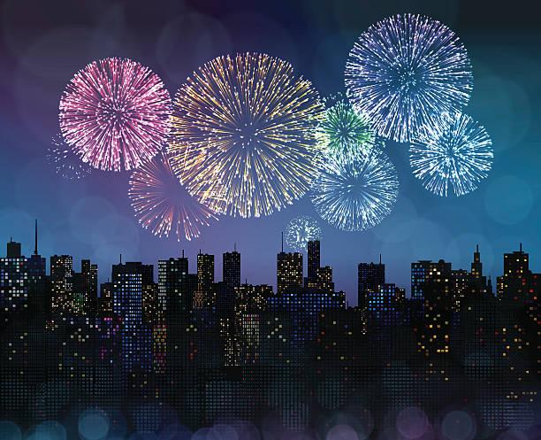 ilustraciones, imágenes clip art, dibujos animados e iconos de stock de fuegos artificiales sobre la ciudad - fireworks