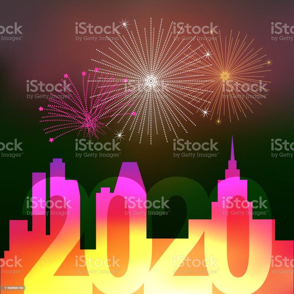 Calendrier Feu D Artifice 2020.Feux Dartifice Audessus De La Ville De Nuit Joyeux Noel Et