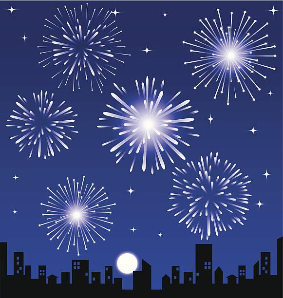 ilustraciones, imágenes clip art, dibujos animados e iconos de stock de fuegos artificiales sobre la ciudad en la noche, vector illustrated - sparks