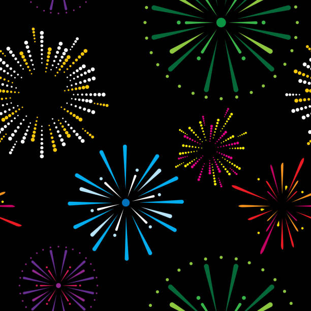 Fireworks Pattern Vector illustration of colorful fireworks in a repeating pattern. anniversary patterns stock illustrations