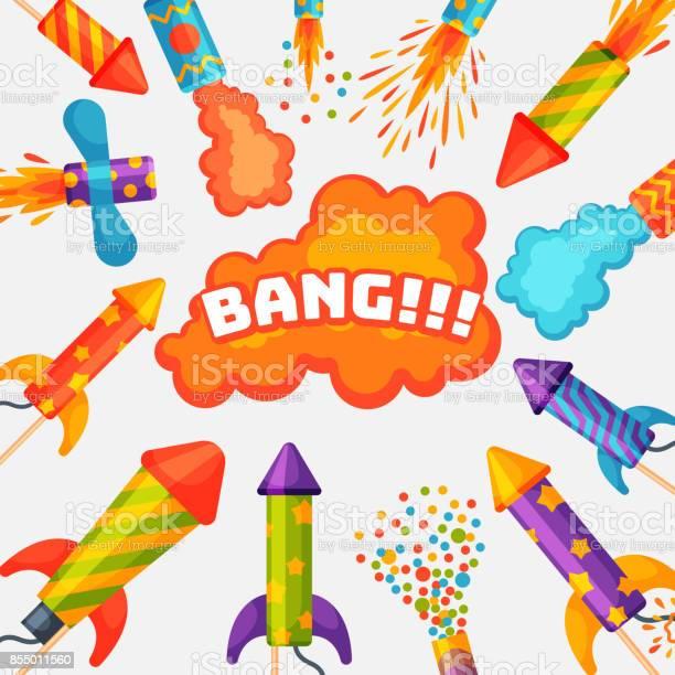 Fireworks pyrotechnics rocket and flapper birthday party gift vector vector id855011560?b=1&k=6&m=855011560&s=612x612&h= ydro58z4qgadbys 92tqhtafzequffzgtm7kbvwd3a=