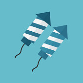 Firework rockets icon in flat design with blue background. In white and blue colors for Israel Independence Day holiday concept.