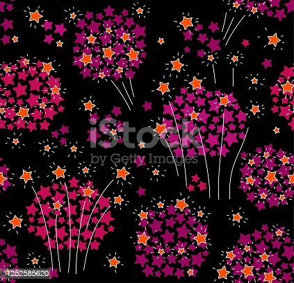 Orange and pink stars on a black background. Holiday. Firecrackers. Color, flat image. Vector.