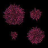 Fireworks Set. Isolated On Black Background. Vector
