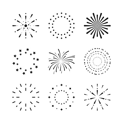 Fireworks. Set of black firecracker icons in various styles. Cartoon shape fireworks elements decoration for Anniversary, New year, Celebrate, Festival. Flat design on white. Vector illustration.