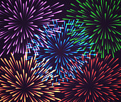 A set of colorful fireworks. Five transparent fireworks on a dark background, easily applicable to any project. EPS10 vector illustration, global colors, easy to modify.