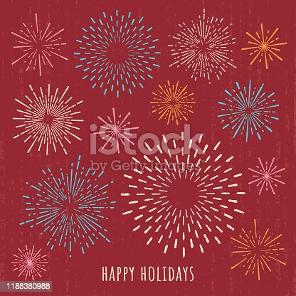 Hand-drawn holiday season greeting card with fireworks. Square composition.