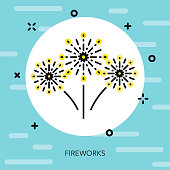 Fireworks Thin Line Election Icon