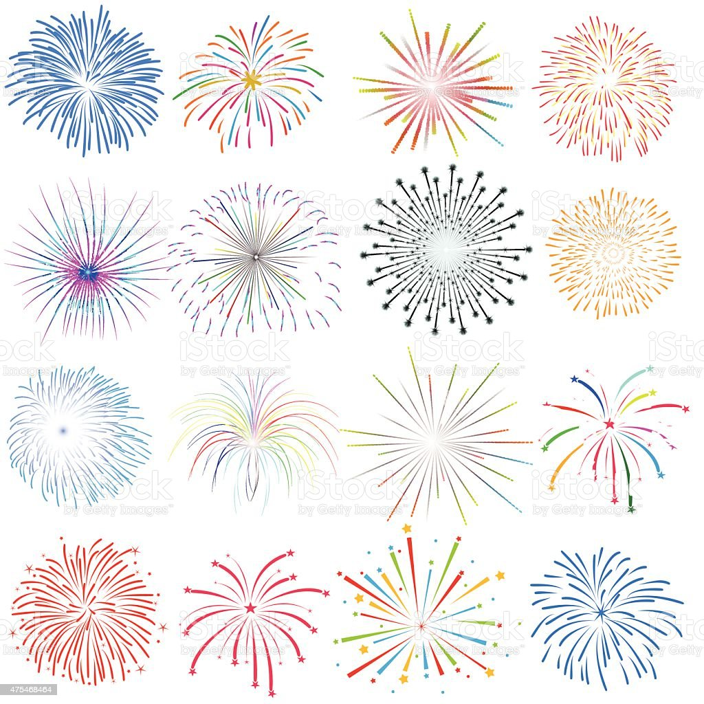 Fireworks vector Design Elements on white background vector art illustration