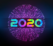 Vector 2020 New Year illustration with firework.