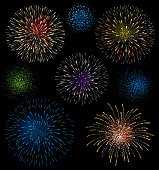 Set of fireworks.  File is layered, global colors used and hi res jpeg included. Please take a look at other work of mine linked below.