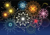 Vector illustration of the Fireworks in different style, type and colors. Each firework is individually grouped. Change color to the firework is easy, simply select the firework and change the gradient's color.