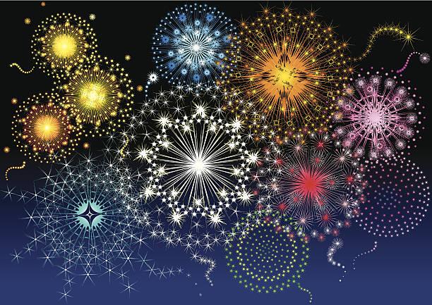 ilustraciones, imágenes clip art, dibujos animados e iconos de stock de fuegos artificiales - sparks