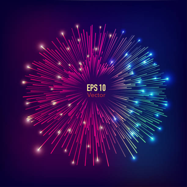 fireworks abstract futuristic fireworks explosion background fireworks stock illustrations