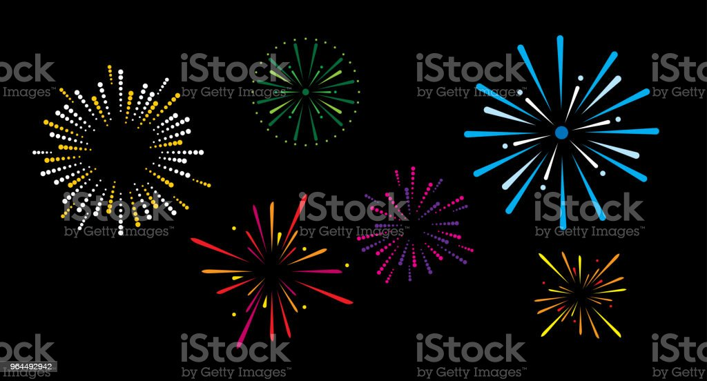 Fireworks Vector illustration of various fireworks exploding against a black background. American Culture stock vector