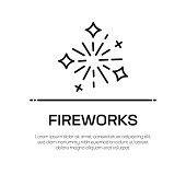 Fireworks Vector Line Icon - Simple Thin Line Icon, Premium Quality Design Element