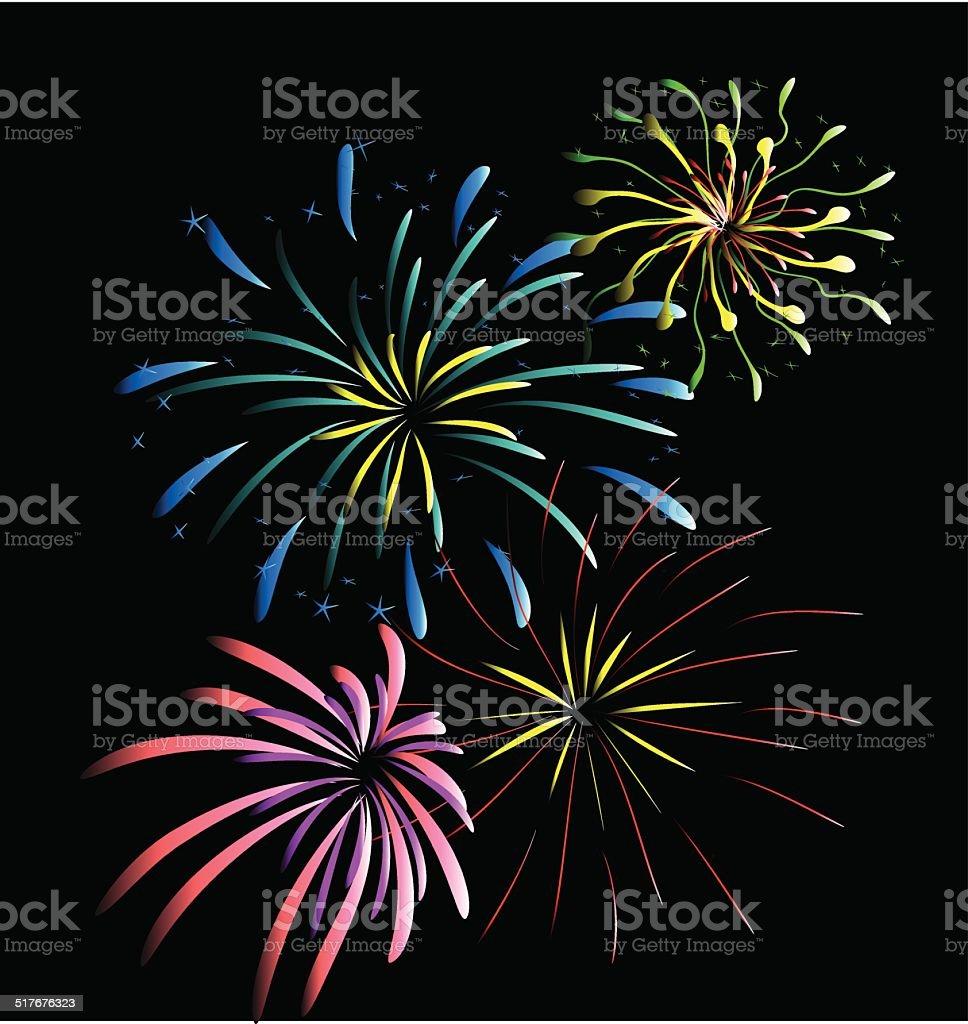 Feuerwerk Vektor, auf schwarzem Hintergrund – Vektorgrafik